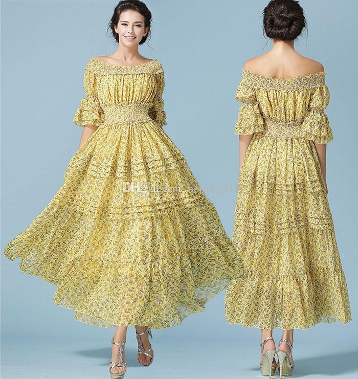 4c43fae534884 Été Nouvelle Mode Femmes En Mousseline de Soie Imprimé Robes Maxi Dress  Plus Taille Étage Longueur Longue Robe Bohème Plage Parti Robe De Soirée ...