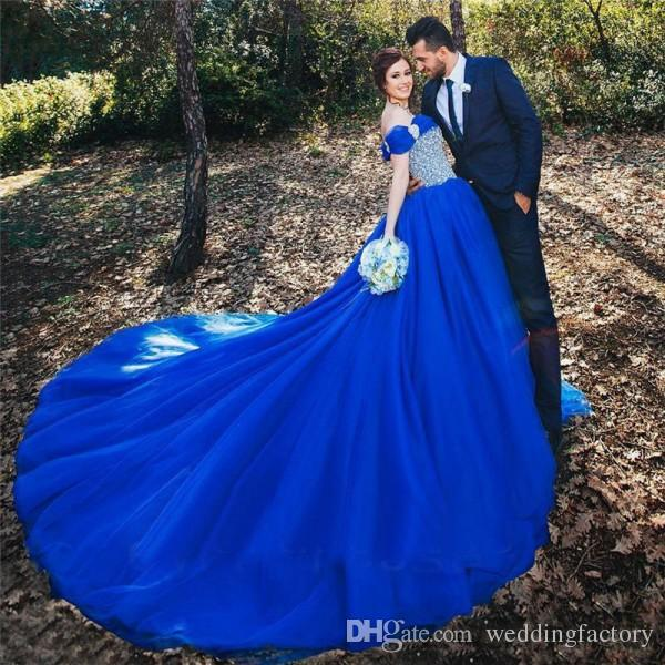 Stunning Royal Blue Wedding Dress Crystals Beaded Sequined Off The Shoulder Wedding Dresses Puffy Ball Gown Bridal Gowns Long Train Ball Gown Dresses