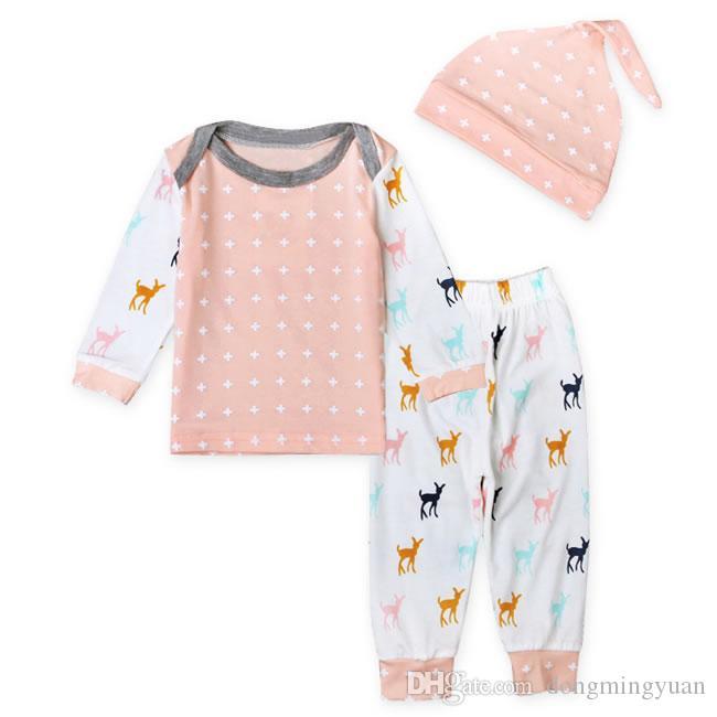 Primeiro Roupas De Aniversário De Natal Para O Bebê Menino Menina Conjunto de Roupas Hat + T Camisa Top + Calça Casual Terno Do Miúdo Do Bebê Recém-nascido Pijama Pijamas 0-2 T