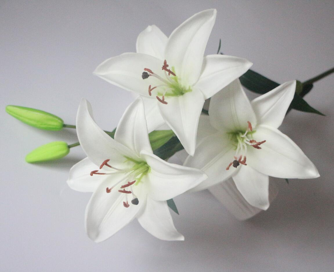 2018 white lily flowers pu latex real touch tiger lily flowers shippment izmirmasajfo