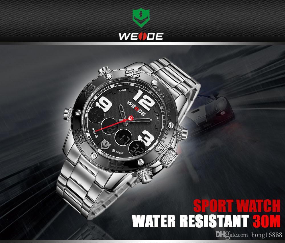 WEIDE Marka Açık Su Geçirmez Çelik Şerit LCD Erkek Saatler CASUAL BUSINESS MODA Kuvars Saatler Toptan Ücretsiz Kargo