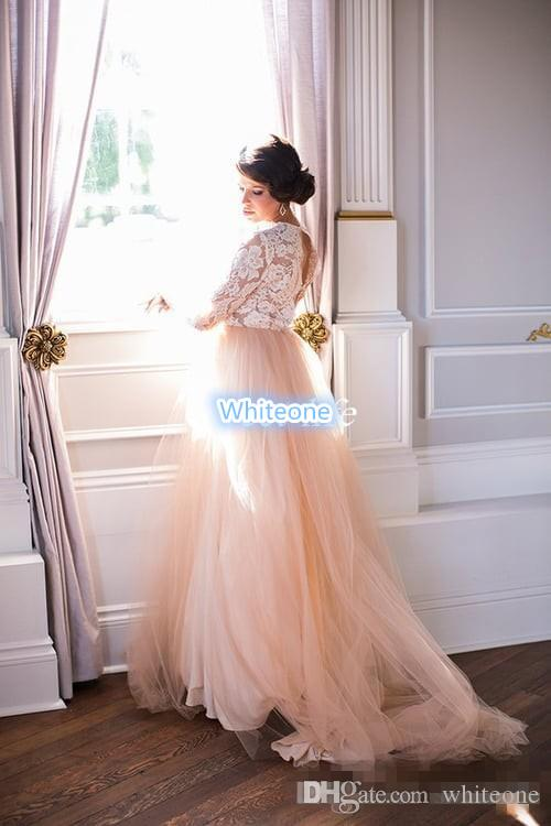 Summer 2016 Long Sleeves Wedding Dresses Lace Top Blush Chapel Train Tulle Open Back Bohemia Western Wedding Bridal Gowns Plus Size Cheap