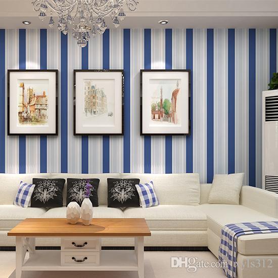 Großhandel Junge Schlafzimmer Tapete Modernen Blauen Streifen Tapete ...