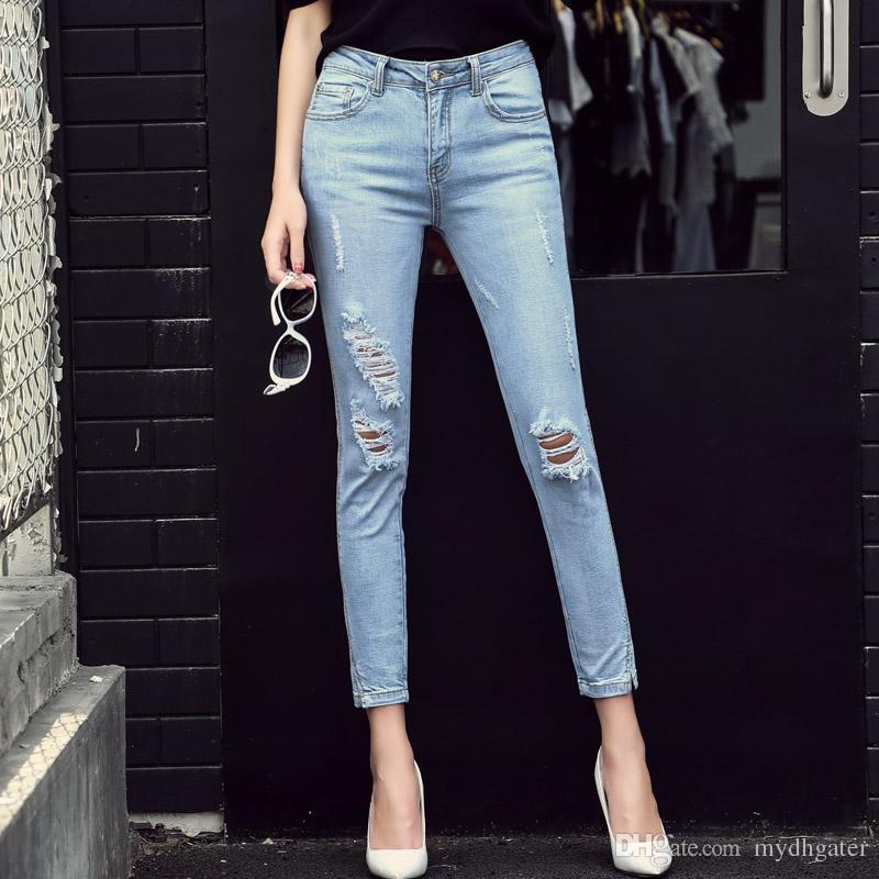 33066151b9 Compre 2018 Nueva Moda Casual Mujer Marca Vintage De Cintura Alta Skinny Jeans  Denim Delgado Flexible Ripped Lápiz Jeans Pantalones Mujer Sexy Girls ...