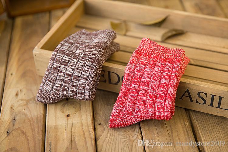 빈티지 ECAO 양말 두꺼운 자카드 양말 캔디 색 여성 양말 캐주얼 여자면 양말 무료 배송
