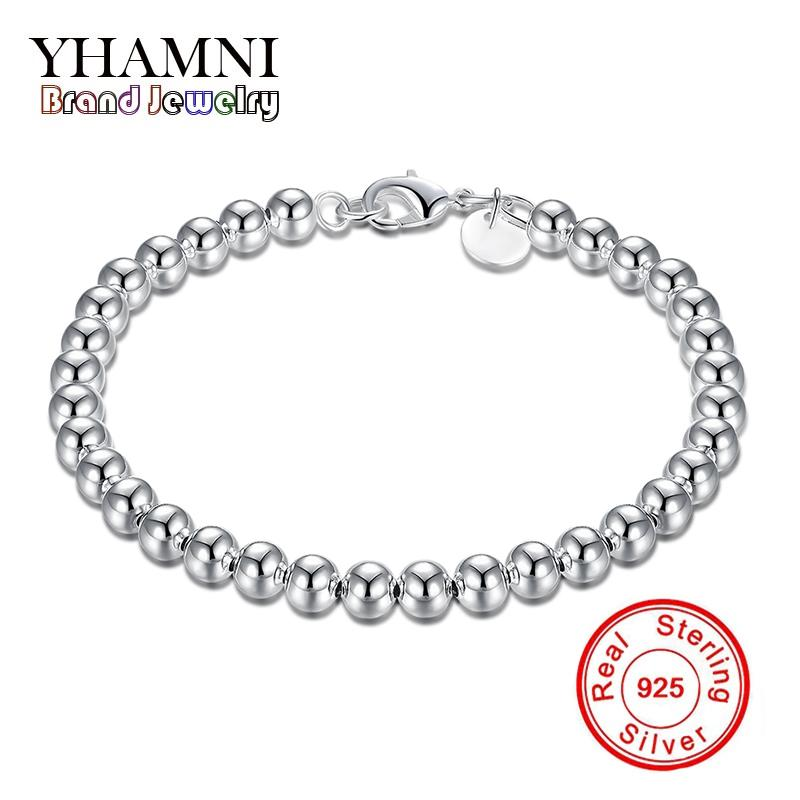 YHAMNI Real 925 Sterling Silve 6MM Chain Bead Bracelet Fashion Charm Women Jewelry Wedding Birthday Gift H114