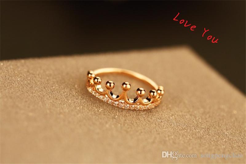 Корона кольцо Позолоченные Фигнер кольцо способ кристаллического Циркон Подвеска Кольцо для женщин Vintage бижутерии Свадебных аксессуаров партии