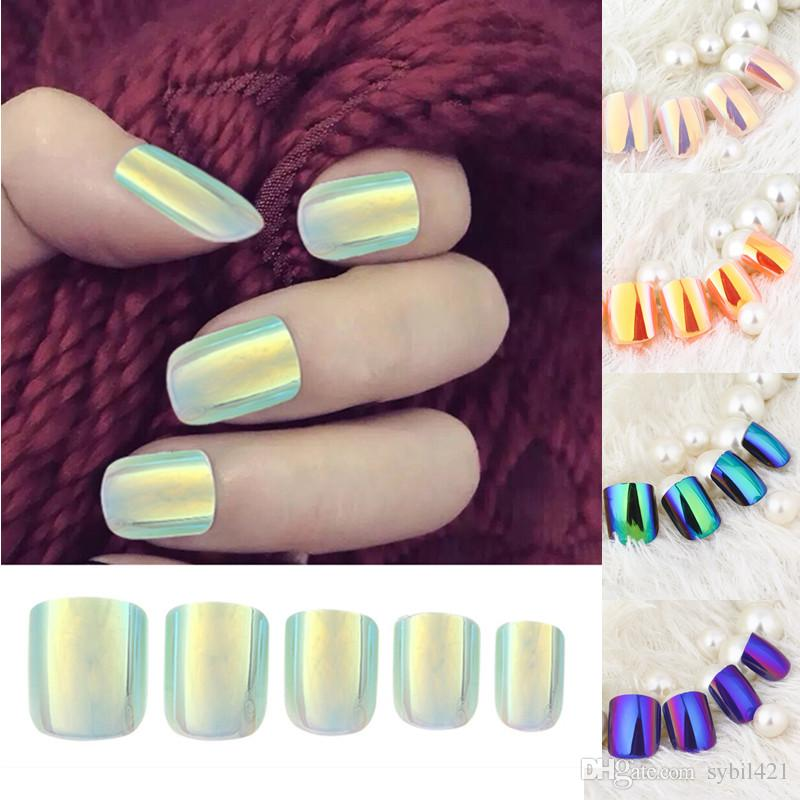 Wholesale Mixed Colors Short False Nails Mirror Reflect Square ...