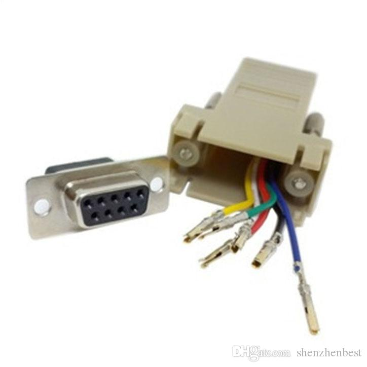 Wholesale DB9 Female to RJ45 Female F/F RS232 Modular Adapter Connector Convertor Extender