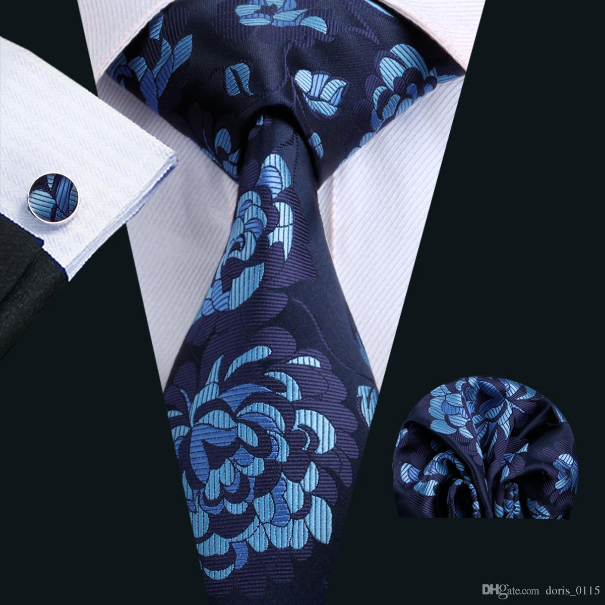 11a875dbbe9d 2019 Floral Mens Ties Classic Silk Tie Sets Blue Mens Neck Ties Tie  Hankerchief Cufflinks Jacquard Woven Meeting Business Wedding Party N 1566  From ...