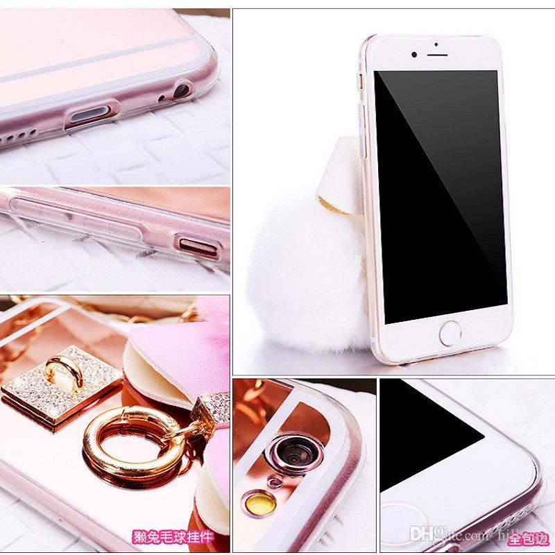 Mirror Bow phone Case for Iphone 8 5 5S 6 6S Plus 7 7 plus for Samsung S6 Edge S7 S7 Edge S8 Soft Diamond Detachable Real Rabbit hair ball