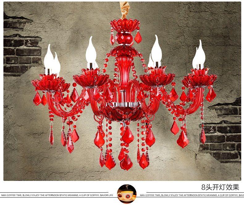 red crystal chandelier led indoor lighting bedroom lamparas de cristal lustres de teto luminaire chandeliers for dining lights