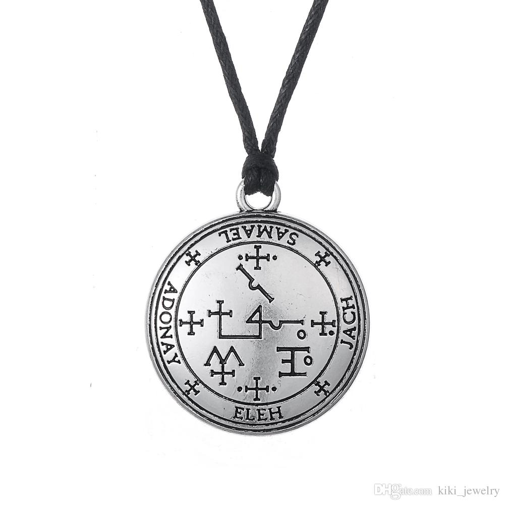 Wholesale myshape wiccan jewelry sigil of archangel samael wholesale myshape wiccan jewelry sigil of archangel samael enochian talisman amulet angel charm necklace gift for man woman gold circle pendant necklace aloadofball Choice Image
