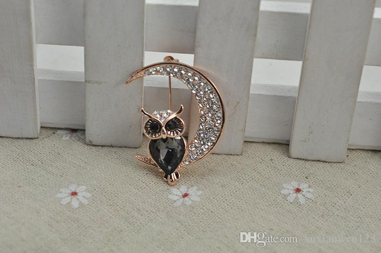 Das neue Angebot Mode Zarte Eule Schöne Kristall Acryl Tier Brosche Für Schmuck Großhandel Pins
