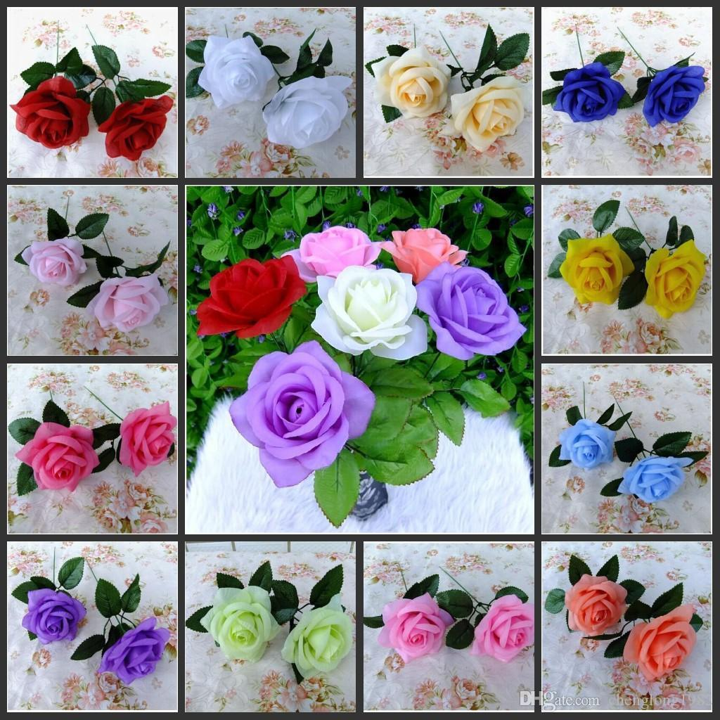 2016 New Artificial Rose Silk Flower Beautiful Wedding Bouquet Home