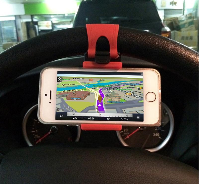 Universal Car Steering Wheel Cradle Cell phone Holder Clip Car Bike Mount Stand Flexible Phone Holder extend to 86mm for iphon6 plus