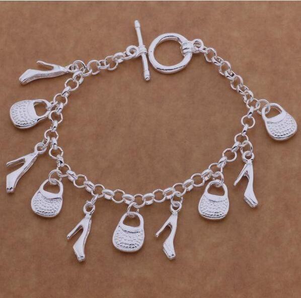 925 Sterling Silver joyería de moda Encantos del bolso de las mujeres señoras pulsera Encantos del bolso de los zapatos pulsera de la cadena