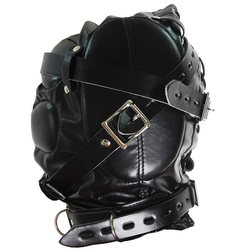 2016 Men Fully enclosed hood Sexy PVC leather dress Mask Harness Fetish Adult Sex Game Headgear