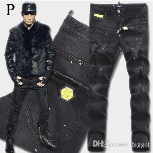 Euro Mode Hommes Noir Jean Stretch Tidy Biker Denim Jean Peinture Endommagement Déguisement Slim Fit En Détresse Cowboy Pantalon Homme En Métal Patch