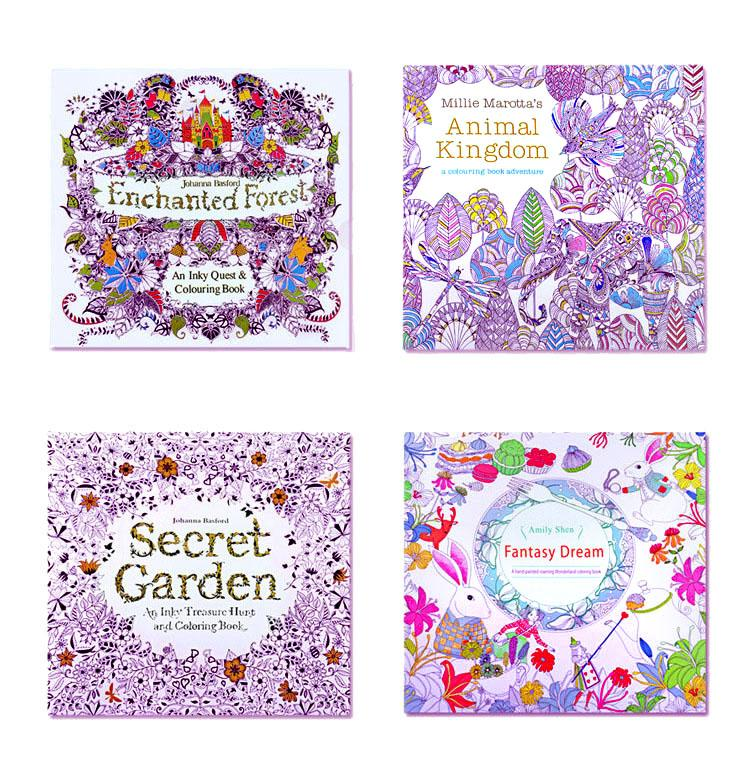 Mini Adult Coloring Books Secret Garden Animal Kingdom Fantasy