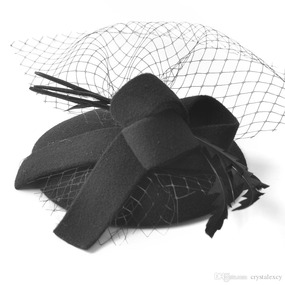 Wholesale Women Headwear Fascinator Trimmed Pillbox Hat Hair Clip Veil Felt Accessory Ascot Weddings Proms Derby Fancy Dress Party