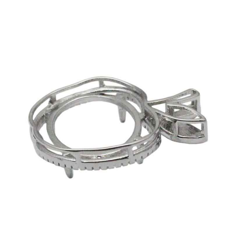 Beadsnice Яблоко Маунт Semi серебро 925 мотаться кулон настройки овальной огранки ожерелье кулон 14x19 установка кабошон база Камея идентификатор 34053
