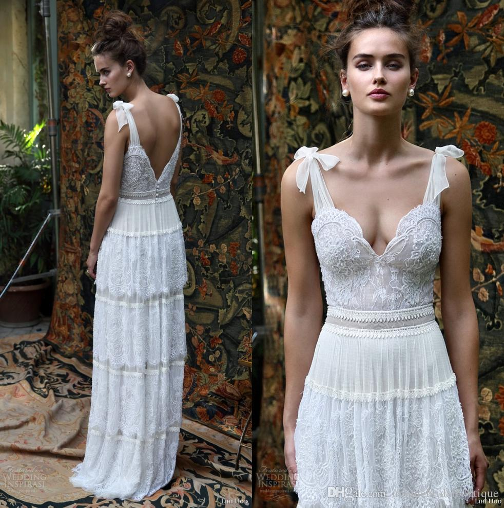 Discount 2016 Lihi Hod Bridal Dresses Scarlet Romantic Bohemian Wedding Gowns Self Tie Straps Multi Lace Skirt Boho Chic Vestidos De Novia Designer: Short Wedding Dress Boho Chic At Websimilar.org