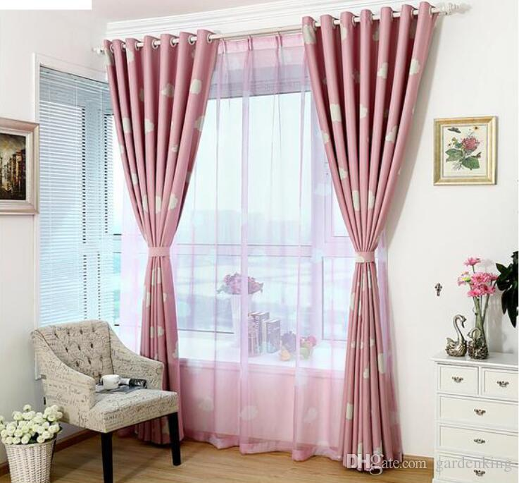 Blue Pink window curtain set for living room luxurious cotton sheer curtains tulle child customer size hook