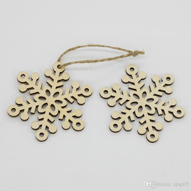 Wooden Laser-Cut Holiday Snowflake Bell Ornaments Wood Embellishment Christmas Tree Decoration Hanging Ornament Decor Mix 5 Patterns