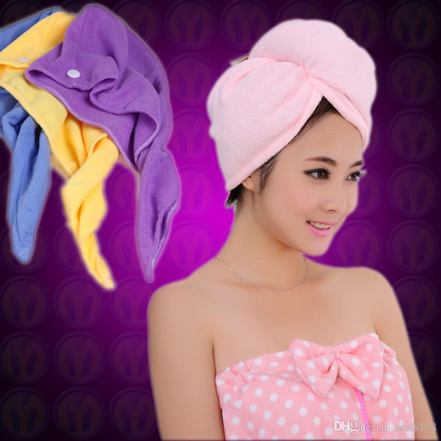 جديد ستوكات الاستحمام سبا شاطئ سريع الجافة الشعر السحر تجفيف العمامة التفاف منشفة قبعة قبعة 60 * 25 سنتيمتر 10 ألوان ZJ-T04