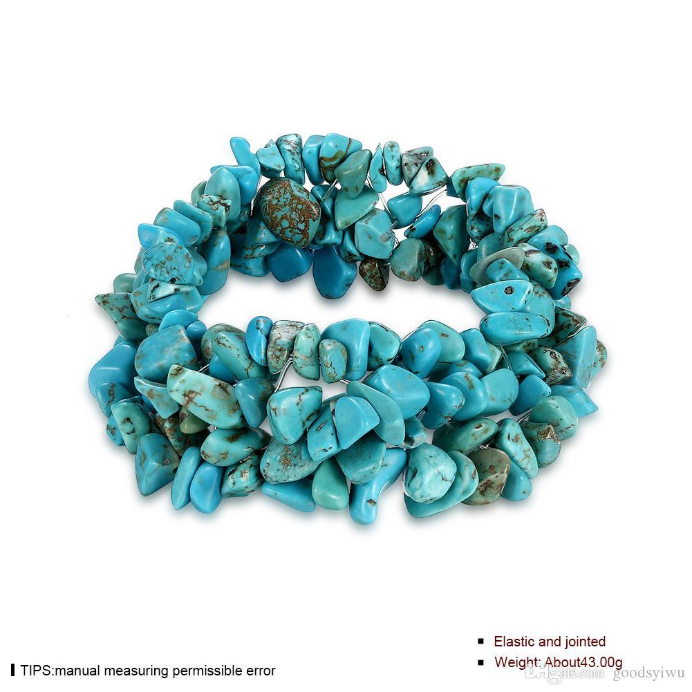 Bracciale misto pietra elastica naturale i multistrato gemma di fluorite pietra ametista turchese Bracciale con perline di pietra cristallo NTRSH001-E