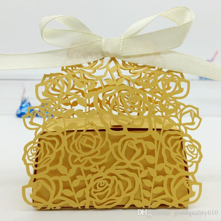 Design-3 Laser Cut Creux Rose Rose Candy Box Chocolat Boîtes Avec Ruban Pour La Fête De Mariage Baby Shower Favor Cadeau