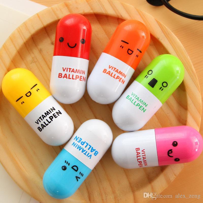 Stylo à bille Personnaliser la forme de la pilule Stylo à bille rétractable Stylos à bille roulante Stylo à bille créatif bureau à stylo et étudier stylo à bille