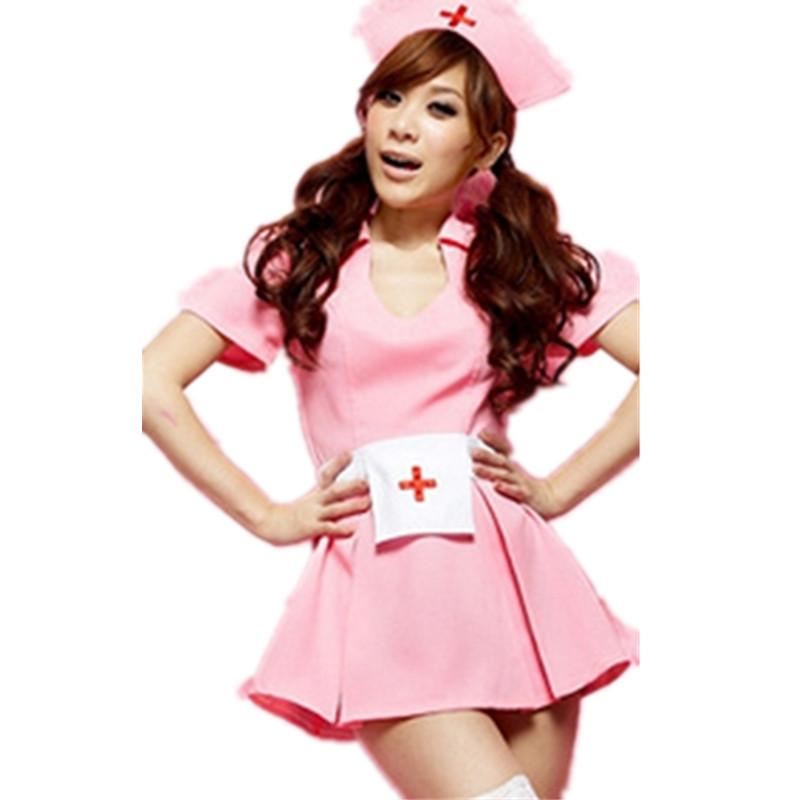 Sexy lingerie nurse wear long nurse pink dress cosplay clothes sexy costumes hot sexy underwear women Exotic lingerie