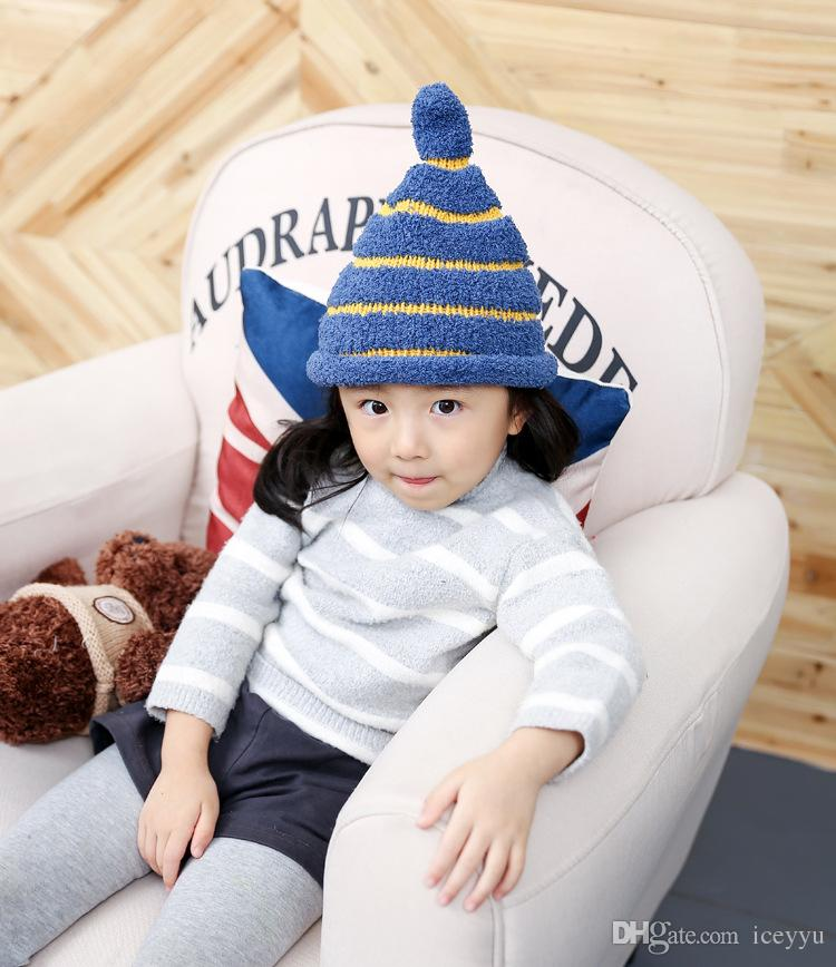 Christmas hats Children hat stripe pointed cap of new fund of 2016 autumn winters warm baby knitting hat Christmas hats