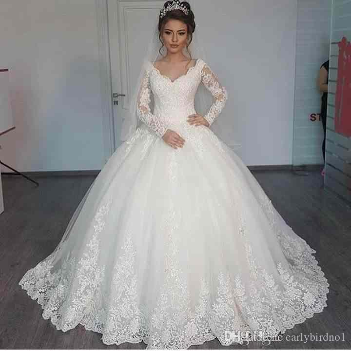 New Modern Árabe Vestido de Baile Vestidos de Casamento Mangas Compridas V Pescoço Rendas Apliques Inchados Tule Trem Da Varredura Plus Size Formal Vestidos de Noiva