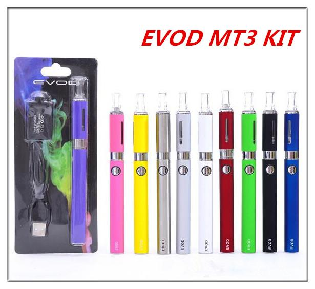 Evod MT3 blister starter kit with 650/900/1100mAh evod battery and MT3 atomizers for e cigarette MT3 evod blister packaging kits