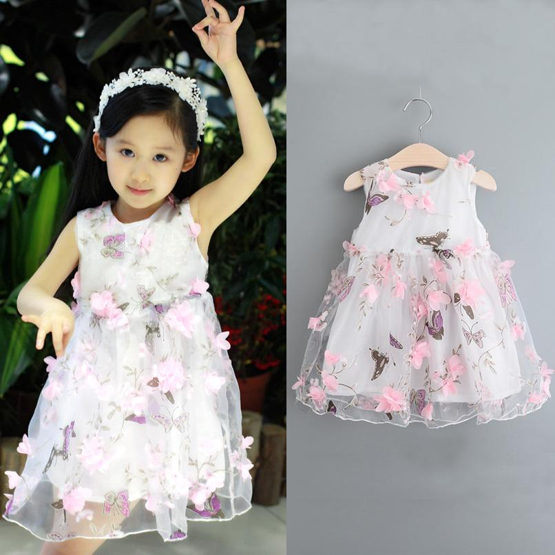 78e3954017ac 2019 PrettyBaby 2016 Summer New Girl Dresses Kids Butterfly 3d Flower Dress  Toddler Baby Girl Gauze Dress Children Princess Vest Sleeveless Dress From  ...