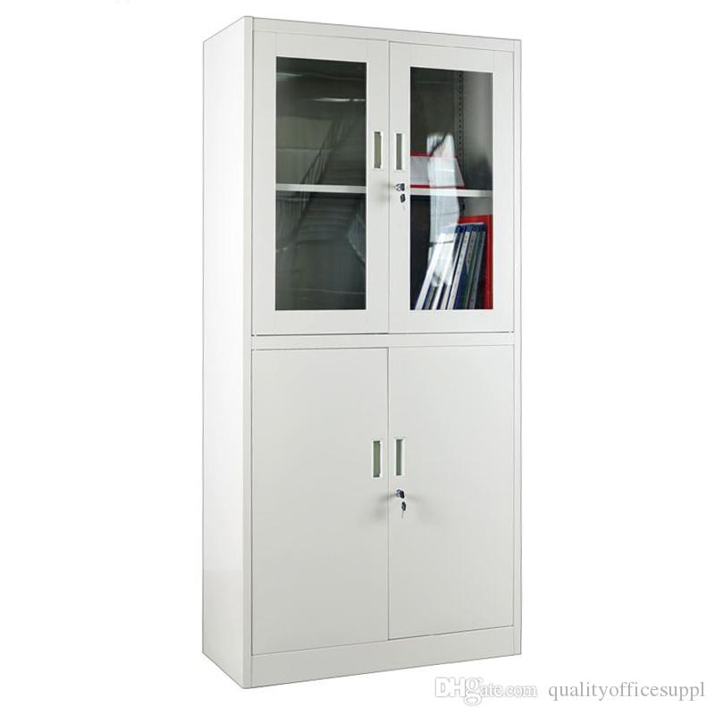 Custom Double Doors Transparent Glass File Cabinet 2 Layer