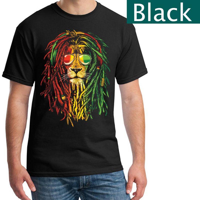 85f2560150 Rasta Reggae Lion T-Shirt Bob Marley - Printed T-Shirt Black T-Shirt ...