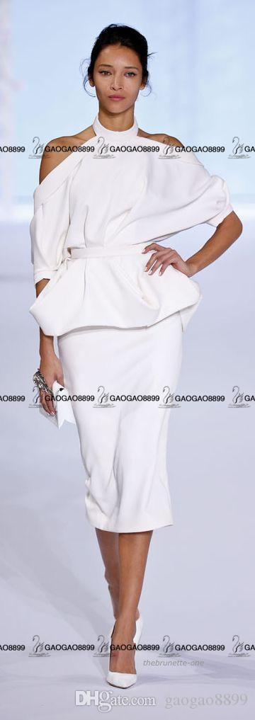 RalphRusso Fiesta de la moda femenina de alta costura Vestidos formales Cuello alto Fuera del hombro Hasta la rodilla Vestido de cóctel de fiesta