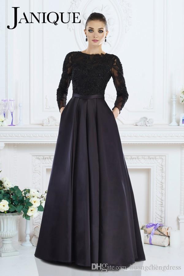 Janique 2019 Noir Robe De Soirée A-ligne Bijou À Manches Longues En Dentelle Perlé Mère De La Robes De Mariée Robes De Soirée Pour Les Femmes Custom Made