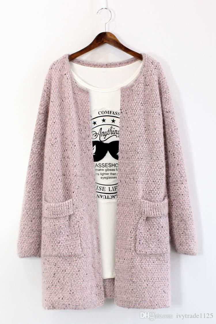 New Fashion Women Long Cardigan Sweater O-neck Long Sleeve Double ...