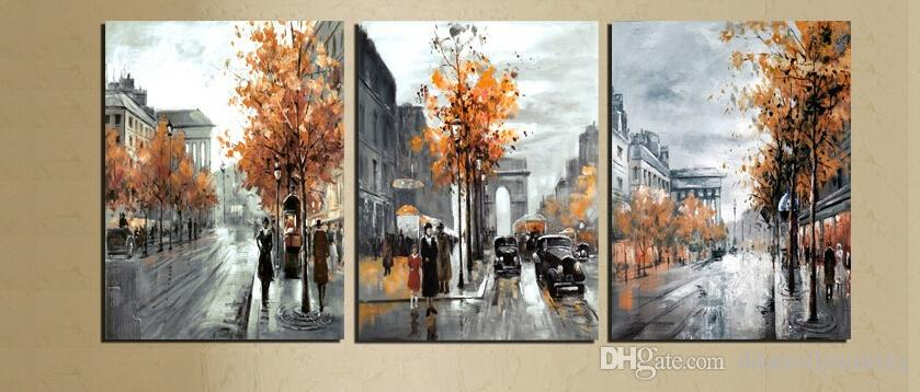 Abstract Painting Canvas Vintage Europe City Street Landscape Decor Pictures Home Decoration Printed Gray Art No Frame