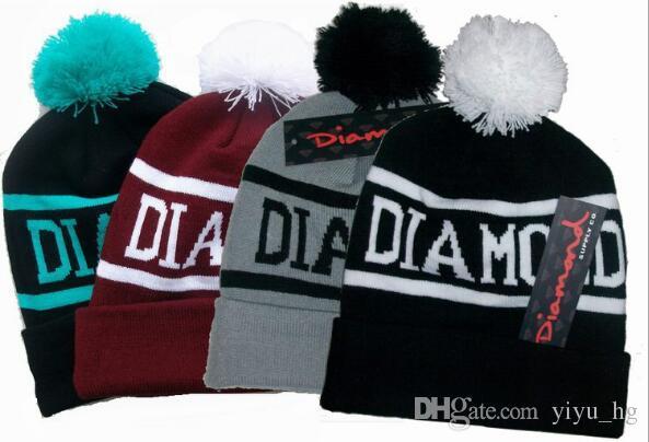 c52c6b2685837 Diamond Supply Co. World Beanie With Pom Beanies Hip Hop Snapback Women Hats  Custom Knitted Wool Caps With Ball Snapbacks Men Hat Cap Ski Hats Newborn  Hats ...