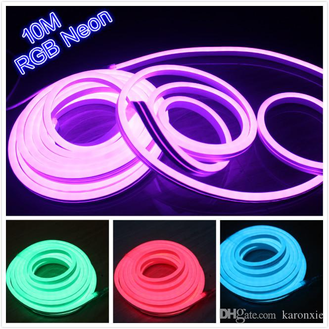Superior 2018 10m 220v/110v Rgb Flexible Tube Light Strip 5050 Smd Ip67 Outdoor Led  Sign Lights 14x26mm For Wedding Christmas Decoration From Karonxie, ...