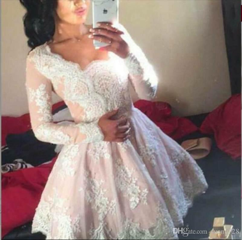 Buyer Show Real Picture A line Short Prom Dress 2016 Hot SALE Long Sleeve Lace Applique Short Elegant Evening Dress Custom made Party Gowns