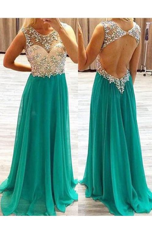 Sparkle Charming A line Jewel Floor Length Hunter Green Chiffon Backless Vestidos de baile con cuentas de alta calidad Vestido de noche atractivo formal