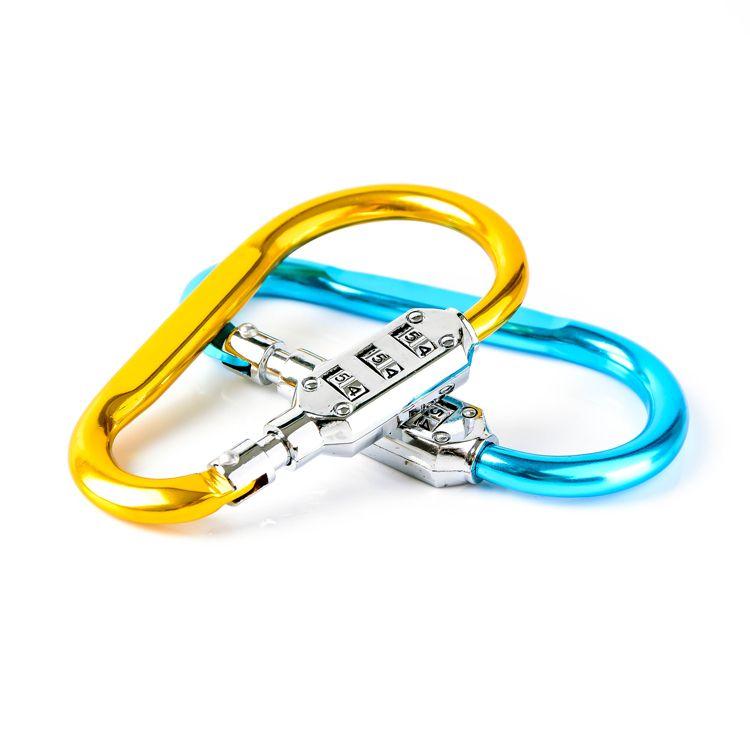 Multifunction quickdraw carabiner lock metal d ring large hook type cabinet lock gym