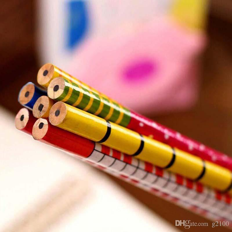 Writing Painting Standard Pencils With Spring Wooden Cartoon Number Head Cute Prize Gifts Material Escolar Papelaria